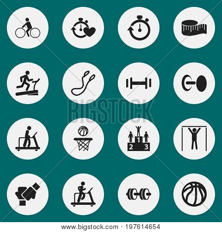 Set Of 16 Editable Healthy Icons. Includes Symbols Such As Jogging, Heft, Basketball And More