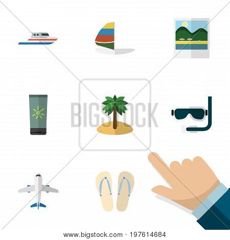 Flat Icon Summer Set Of Boat, Moisturizer, Reminders And Other Vector Objects