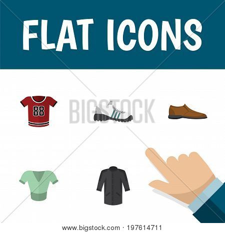 Flat Icon Garment Set Of Sneakers, Male Footware, Uniform And Other Vector Objects