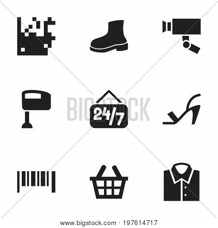 Set Of 9 Editable Trade Icons. Includes Symbols Such As Open Everyday, Guard Camera, Basket And More
