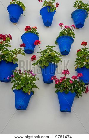 White Wall Decorated With Blue Flower Pots In The Old Town Of Cordoba, Spain, Europe