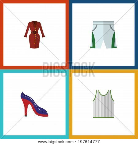 Flat Icon Clothes Set Of Trunks Cloth, Heeled Shoe, Clothes And Other Vector Objects