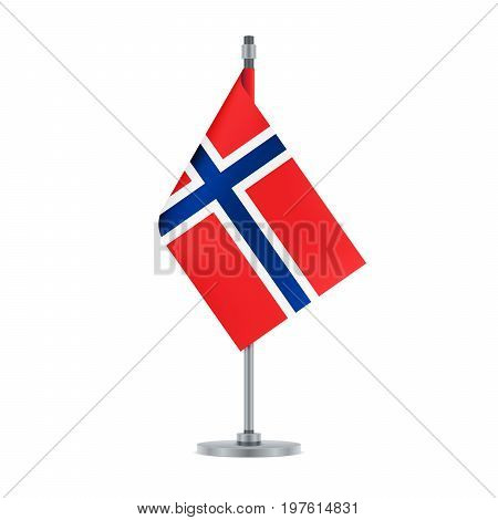 Norwegian Flag Hanging On The Metallic Pole, Vector Illustration