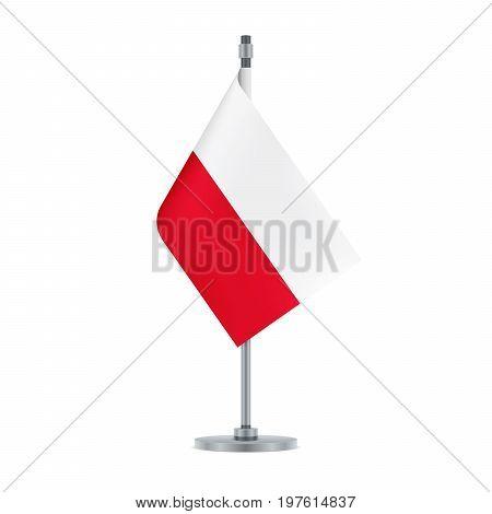 Polish Flag Hanging On The Metallic Pole, Vector Illustration