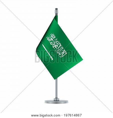 Saudi Arabian Flag Hanging On The Metallic Pole, Vector Illustration
