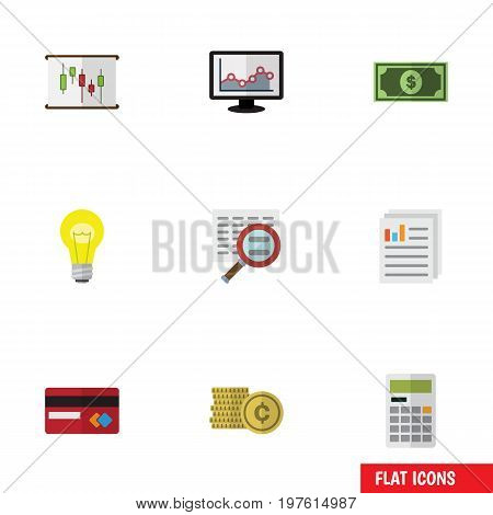 Flat Icon Incoming Set Of Bubl, Calculate, Greenback And Other Vector Objects