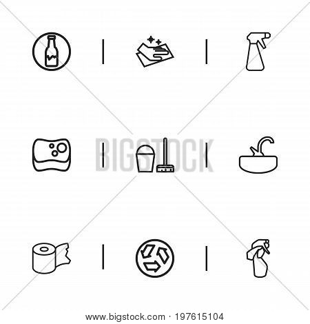 Set Of 9 Editable Cleanup Outline Icons. Includes Symbols Such As Ecology, Sponge, Hygienic Roll And More