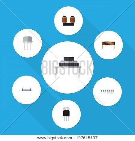 Flat Icon Electronics Set Of Receiver, Memory, Resistor And Other Vector Objects