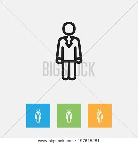 Vector Illustration Of Trade Symbol On Job Person Outline