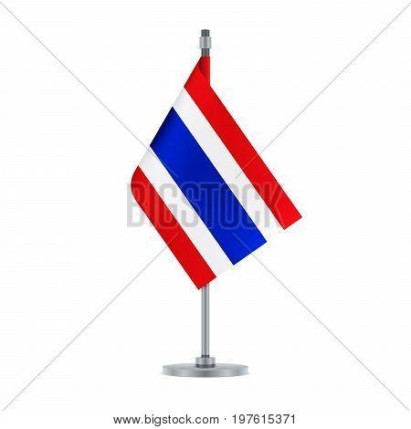 Thai Flag Hanging On The Metallic Pole, Vector Illustration
