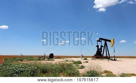 Oil Pump on the field. Oil industry equipment