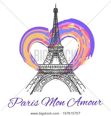Eiffel tower with colorful bright heart isolated on white background. Vector illustration