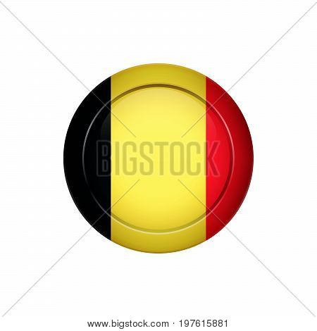 Belgian Flag On The Round Button, Vector Illustration