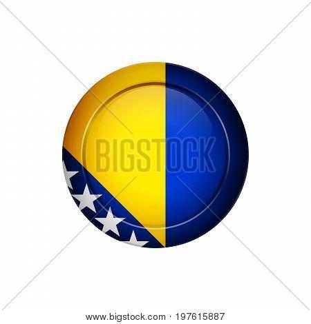 Bosnia Herzegovinan Flag On The Round Button, Vector Illustration