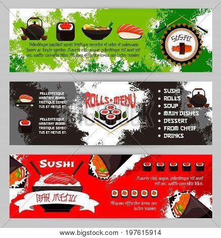 Sushi menu banners for Japanese cuisine restaurant. Vector set of fish rolls, seafood noodles or salmon maki and eel nigiri with rice and chopsticks, tuna sashimi, tempura shrimp prawn and green tea