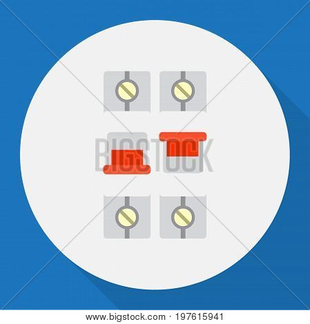 Vector Illustration Of Electric Symbol On Light Flat Icon