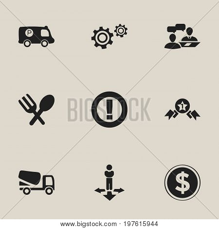 Set Of 9 Editable Complicated Icons. Includes Symbols Such As Caution, Finding Solution, Cutlery And More