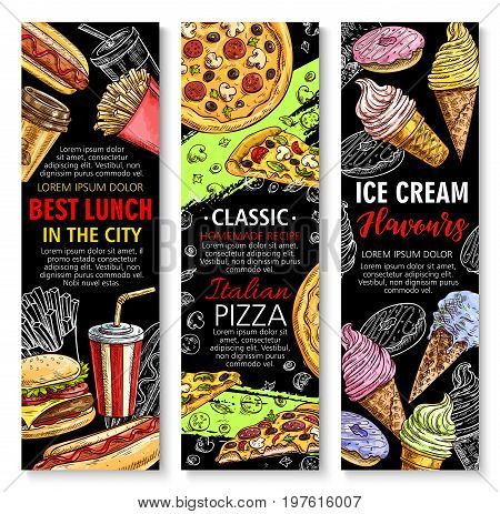Fast food banners for restaurant. Vector combo lunch meals set, cheeseburger or hamburger and hot dog, Italian pizza and hot dog sandwich, french fries or chicken nugget, cake and ice cream dessert
