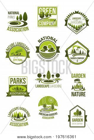 Green environment and nature landscape company icons set. Vector isolated symbols of ecology parks, forest trees or plant gardens, parkland squares and eco woodlands for gardening association