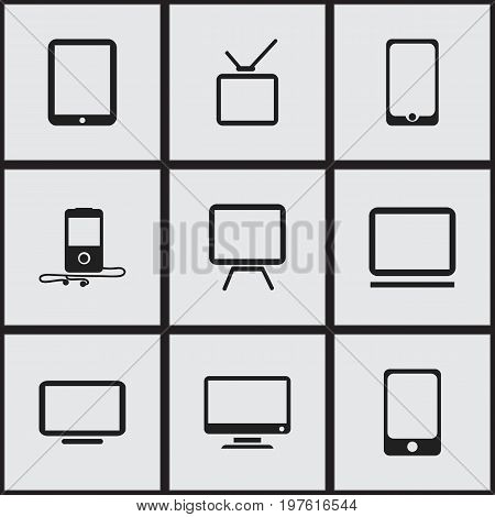 Set Of 9 Editable Devices Icons. Includes Symbols Such As Tv, Smartphone, Tablet Phone And More