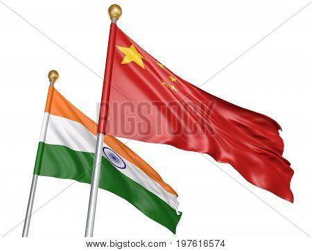 China and India flags flying together for important diplomatic talks, 3D rendering
