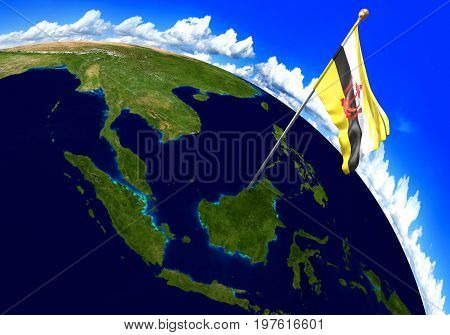 Brunei national flag marking the country location on world map. 3D rendering, parts of this image furnished by NASA