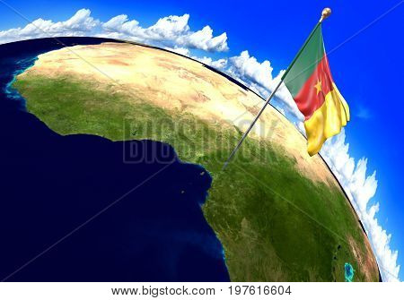 Cameroon national flag marking the country location on world map. 3D rendering, parts of this image furnished by NASA