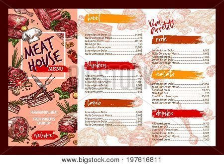 Meat restaurant menu template. Vector butchery fresh meat products price for chicken or turkey fowl, beef steak or tenderloin and sirloin, pork bacon and ham grill or mutton ribs, salads and drinks