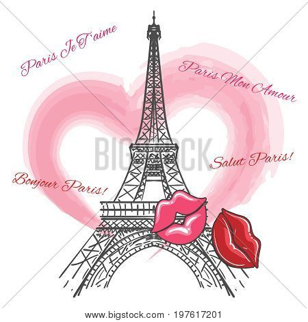 Love Paris poster with Eiffel tower, heart and lips, vector illustration