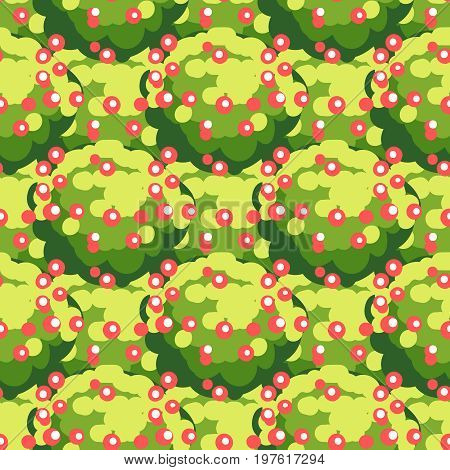 Nature seamless texture with abstract green foliage and berries, vector illustration