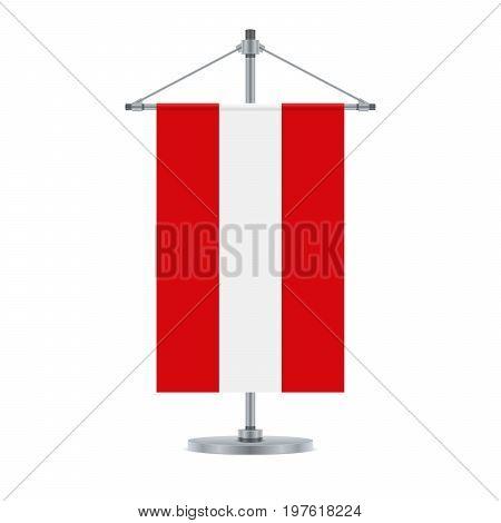 Austrian Flag On The Metallic Cross Pole, Vector Illustration