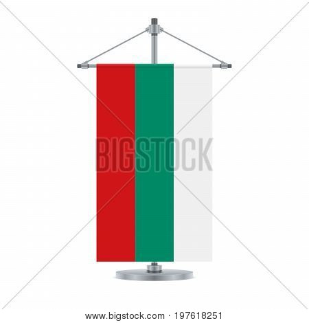Bulgarian Flag On The Metallic Cross Pole, Vector Illustration