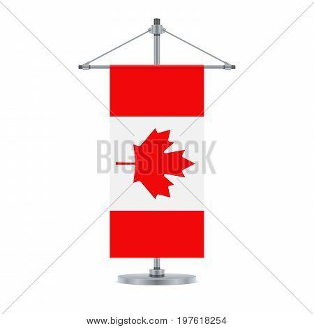 Canadian Flag On The Metallic Cross Pole, Vector Illustration