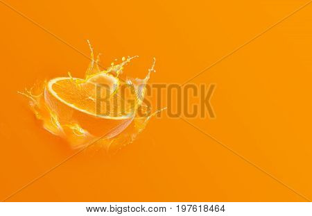 Slide cut piece of orange drop on orange background with orange juice splash water with copy space