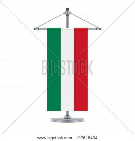 Hungarian Flag On The Metallic Cross Pole, Vector Illustration