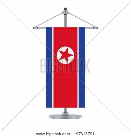 North Korean Flag On The Metallic Cross Pole, Vector Illustration