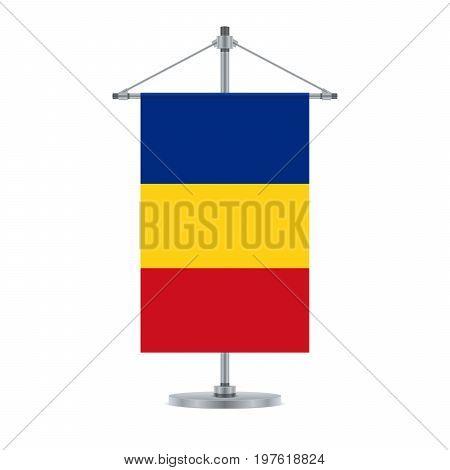 Romanian Flag On The Metallic Cross Pole, Vector Illustration