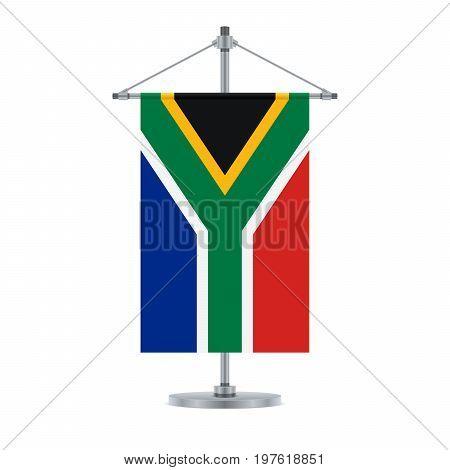 South African Flag On The Metallic Cross Pole, Vector Illustration