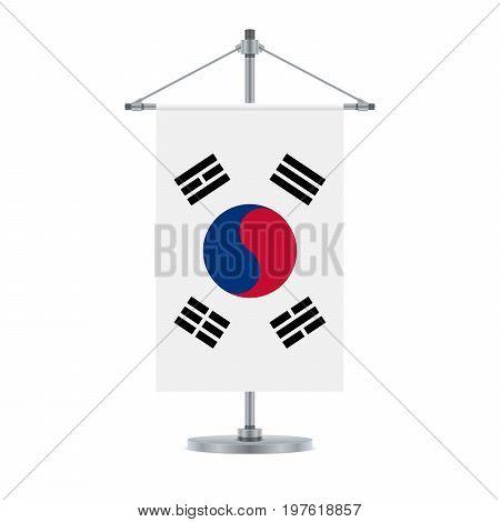 South Korean Flag On The Metallic Cross Pole, Vector Illustration