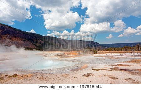 Black Sand Basin with erupting geyser in Yellowstone National Park in Wyoming USA
