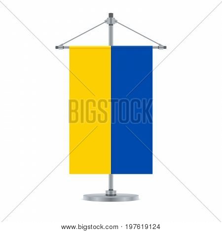 Ukrainian Flag On The Metallic Cross Pole, Vector Illustration