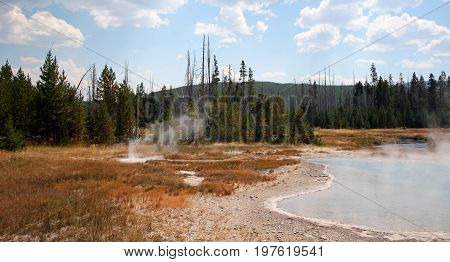 Black Sand Geyser Basin in Yellowstone National Park in Wyoming US