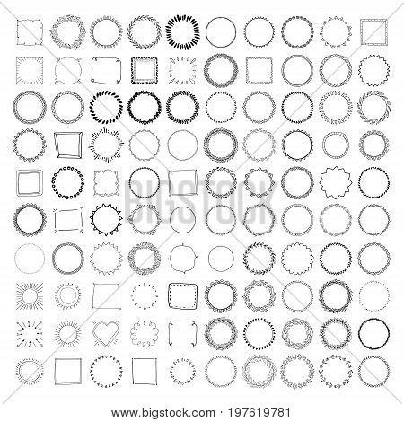 Big collection of handdrawn borders. Handdrawn doodle frames.