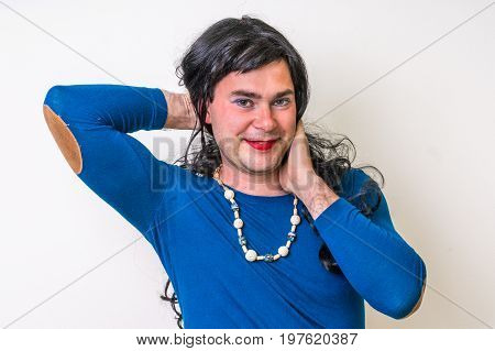 Man Dressed As Woman Isolated On White