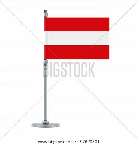Austrian Flag On The Metallic Pole, Vector Illustration