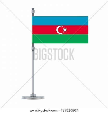 Azerbaijan Flag On The Metallic Pole, Vector Illustration