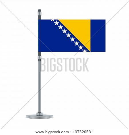 Bosnia Herzegovinan Flag On The Metallic Pole, Vector Illustration