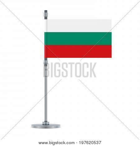 Bulgarian Flag On The Metallic Pole, Vector Illustration