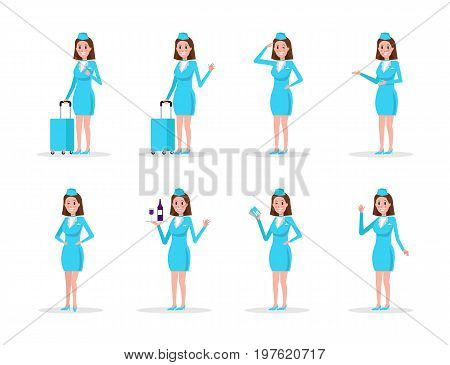 Set Air hostess in Blue uniform isolated on white. flat character design vector illustration