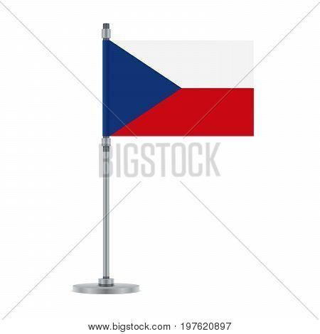 Czech Flag On The Metallic Pole, Vector Illustration